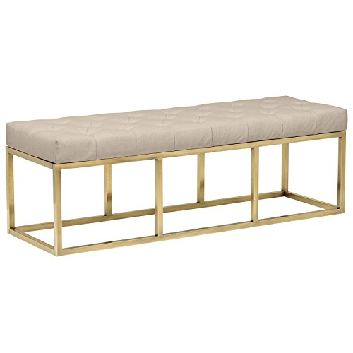 "Rivet Glam Tufted Seat Upholstered Bench with Gold Legs , 58""L, Gold Finish"