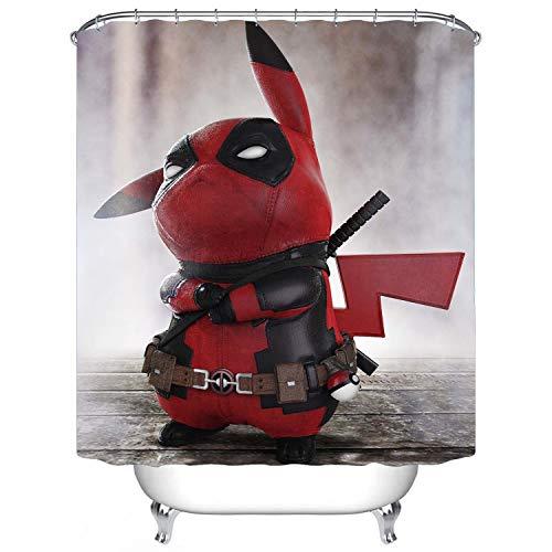 Pikachu Deadpool Duschvorhang, wasserfest & schimmelresistent, 152,4 x 182,9 cm, 12 Stück Kunststoffhaken
