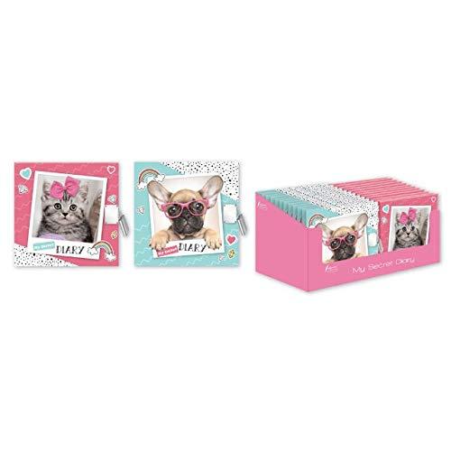 The Home Fusion Company Mädchen Kinder Katze oder Hunde Mein Geheimes Tagebuch Notizbuch mit Vorhängeschloss Tolles Geschenk - Cat