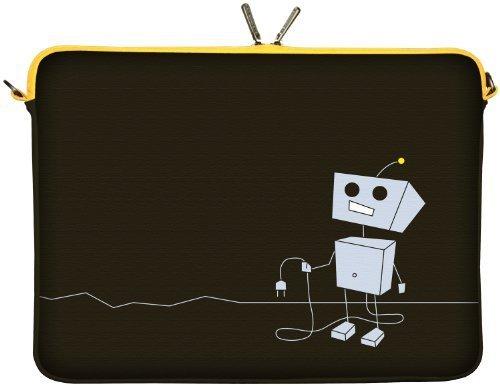 Digittrade LS156-15 Peppy Love Designer Notebooktasche 15,6 Zoll (39,1 cm) Neopren Notebook-Hülle Sleeve Tasche Schutzhülle Cover Roboter schwarz-grau