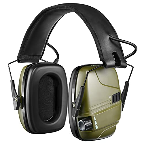 Shooting Ear Protection, Rechargeable Electronic Hearing Protection with Sound Amplification&Auto Shut Off, NRR 22dB Noise Protection Earmuffs for Gun Firing Range,Hunting,Mowing- Men Women- ArmyGreen