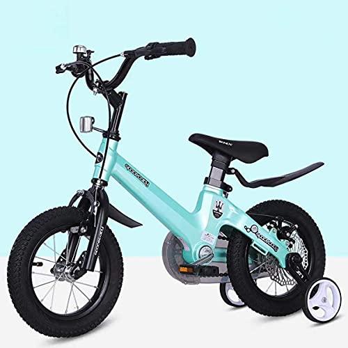 XBSXP Bicicleta para niños Premium Safety Sport Bicicleta para niños con Caballete Lateral y Accesorios para niños de 2 a 11 años 12/14/16/18 Inch Cruiser Edition, Azul, 14 Pulgadas