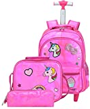Cartable Fille,Cartable a Roulette Fille Primaire,HTgroce Cartables Licorne Scolaire...