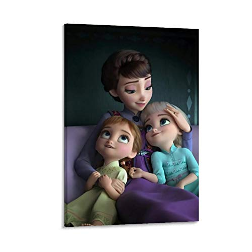 NUOMANAN Impresión artística de acuarela de Frozen Fantasy Adventure of the Snow Princess 50 x 75 cm, impresión sobre lienzo para sala de estar o pared sin marco
