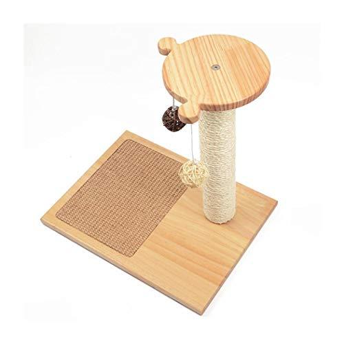 LYQZ Solid Wood Cat Climbing Frame, Pet Bed, Cat Scratching Board, Rattan Toy Ball, Sisal Pillar, 40x40x30cm (Color : Bear)