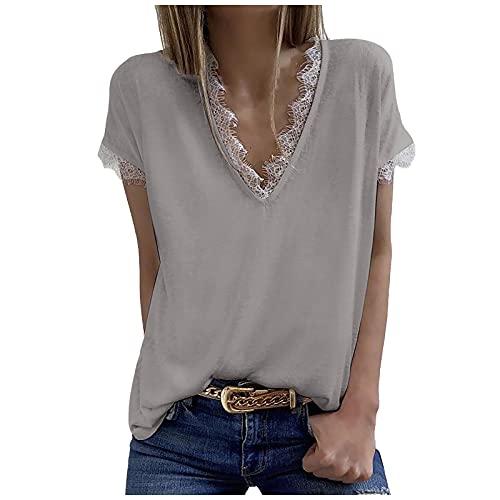 XOXSION Camiseta de verano para mujer, cuello en V, monocolor, manga corta, encaje, patchwork, para adolescentes, niñas y mujeres, túnica Gris S