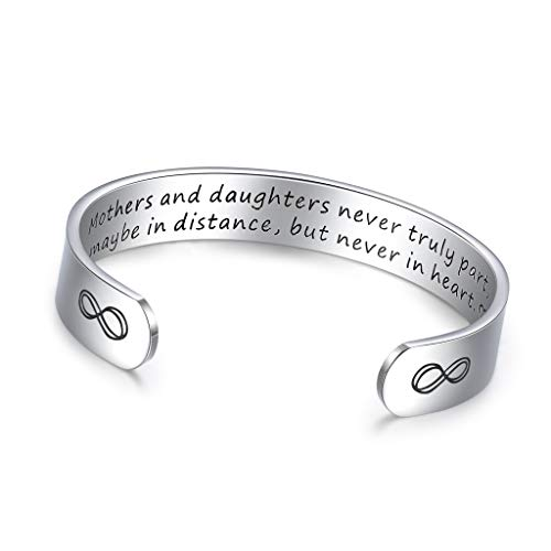 CERSLIMO Mum Birthday Gifts Mother Daughter Bracelet Cuff Bangle Mummy Gifts from Son Husband Thanksgiving Day for Mum