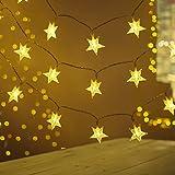 Lichterkette Außen Batterie,FOCHEA 2 Stück 5M 50 LED Lichterketten Sterne Batterie, Wasserdicht Außen Innen Weihnachten Sterne Lichterketten...