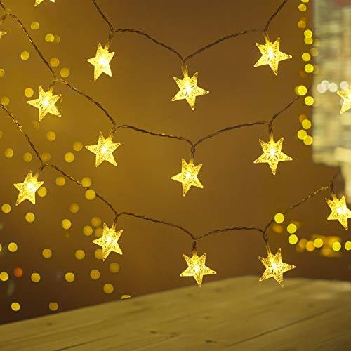 Lichterkette Außen Batterie,FOCHEA 2 Stück 5M 50 LED Lichterketten Sterne Batterie, Wasserdicht Außen Innen Weihnachten Sterne Lichterketten Warmweiß mit 8 Modi für Zimmer Party DIY Deko