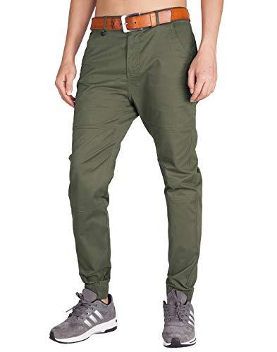 ITALYMORN Pantalón para Hombre Chino con Puños Corte Casual Jogging Algodón Slim Fit (40, Ejército Verde)
