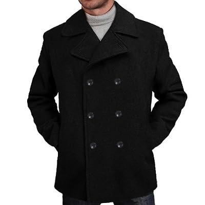 BGSD Men's Mark Classic Wool Blend Pea Coat Black Big and Tall 4XLT from BGSD