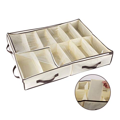 Organize City-Under Bed Shoe Storage Organizer -Fits Shoes Up to Size 12-– Sturdy Sides & 12 Inserts for Stiffness - Plastic Zippered Cover –Closet Storage Solution-(Stores 12 Pairs) 24' X 32' X 6'
