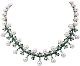 Collana in Oro Bianco, Perle, Diamanti e Smeraldi