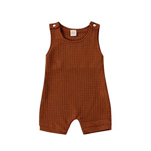 Beudylihy Mono para bebé, sin mangas, para niños y niñas, mezcla de algodón, cuello redondo, suelto, para verano, fácil de poner y quitar. marrón 12-18 Meses