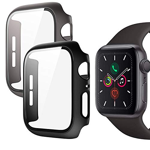 Protector Pantalla Apple Watch 44mm, 2 Piezas Funda Apple Watch Serie 6/SE/Series 5/Serie 4 44mm con Protector de Pantalla Cristal Templado, HD Protección Completa Carcasa para iWatch (Negro + Gris)