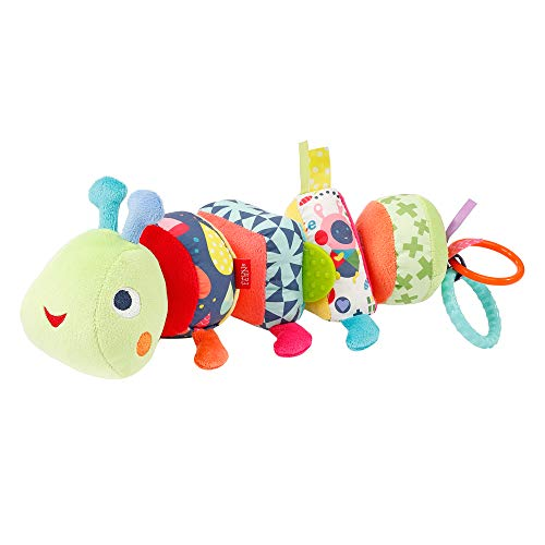 Fehn 055399 Activity-Puzzle-Raupe - Klett-Motorikspielzeug mit bunten Elementen, Formen & Geräuschen zum Greifen, Puzzeln & Lernen fördert die Sinne – für Babys & Kleinkinder ab 0+ Monaten