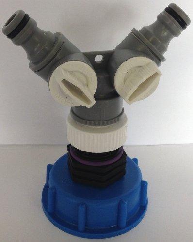 CMTech GmbH Montagetechnik CM135_Y Auslaufadapter mit Y-Verteiler passend für Gardena, IBC-Container-Zubehör-Regenwasser-Tank-Adapter-Fitting-Kanister