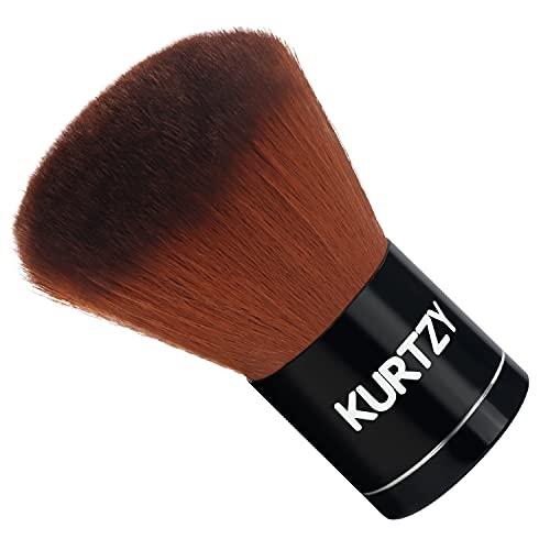 Kurtzy Pennello Kabuki Fondotinta per Trucco - Petal Brush 7 cm - Pennello Fondotinta Liquido, Polvere e Fard Sintetico per Trucco Viso - Pennelli Fondotinta Polvere per Blending, Buffing e Stippling