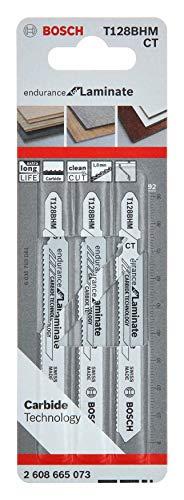 Bosch Professional 3 Stück Stichsägeblatt T 128 BHM Endurance for Laminate (für Laminatboden, Zubehör Stichsäge)