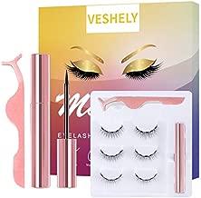 VESHELY Natural Magnetic Eyelashes with Eyeliner,3 Pairs Natural Look False Lashes Kit,3D Short Magnetic Eyelash Set - No Glue Needed