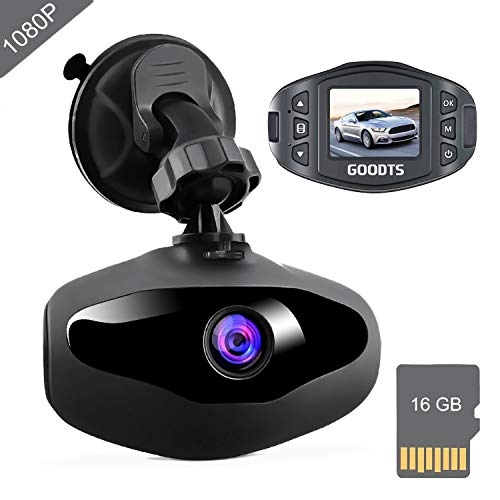 Dash Cam GOODTS Full HD 1080P Mini Car Camera Driving Recorder 1.5 inch Screen 170°Wide Angle, Dashboard Camera with G-Sensor Loop Recording WDR Motion Detection Night Vision (16GB Card Included) Cameras On-Dash