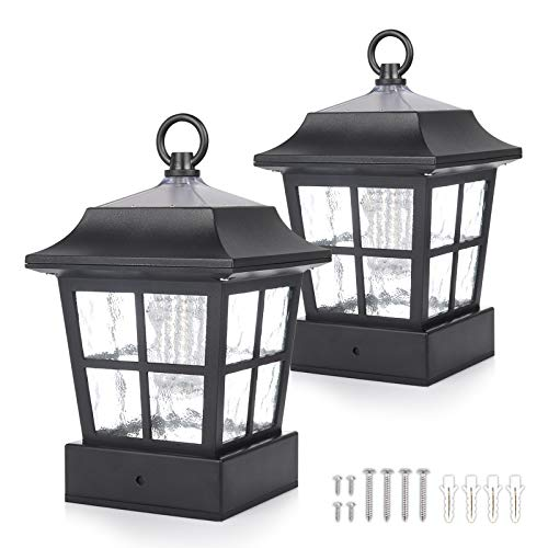"""KMC LIGHTING KT130QFX2 Solar Post Lights Post Solar Lights Outdoor Solar Post Cap Light 15 LUMENS fit for 3.7X3.7"""" Regular Fence Posts or with Included Adaptor fit for Bigger Flat Surface"""