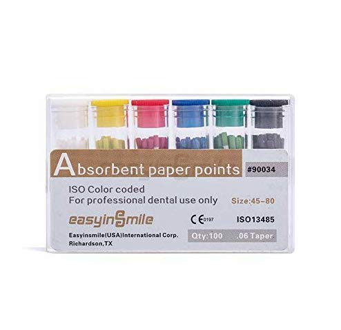 EASYINSMIL 1Box Absorbent Paper Points Endodontic 02/04/06Tapper for Dental Endo Sterile Mixed Sizes (45-80# Mix 0.6 Taper)
