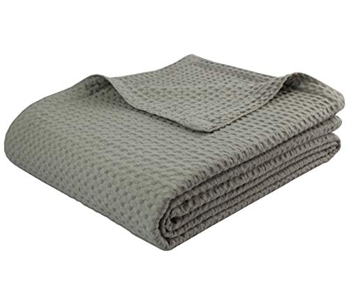 COTTON CRAFT - 100% Soft Premium Cotton Waffle Thermal Blanket - King Grey - Snuggle in These Super Soft Cozy Cotton Blankets - Perfect for Layering Any Bed - Provides Comfort and Warmth