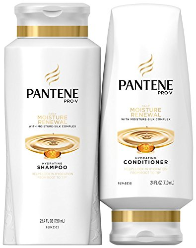 Pantene Moisturizing Shampoo and Silicone-Free Conditioner for Dry Hair, Daily Moisture Renewal,...