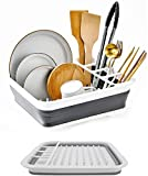 Rejilla para platos plegable, fácil de almacenar, gran espacio para platos, compartimentos separados para vajilla y utensilios de cocina, compacto y portátil (blanco)