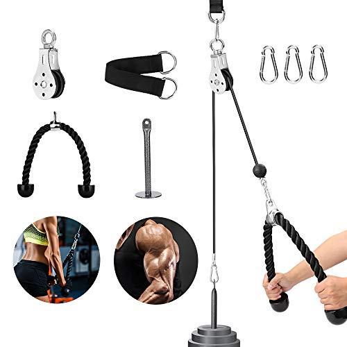 Riiai Seilzugsystem, Seilzugsystem, Fitness-, Lat- und Hebe-Riemenscheibensystem, 2 m, Trizepsseil mit selbstgemachtem Ladesystem und verstellbarer Länge für Heimgymnastik, Sporttrainingsgeräte