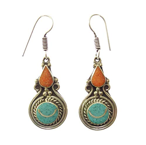 Handmade Earrings For Women, Ethnic Tribal Gypsy Tibetan Style Bohemian Boho Fashion Designer Party Jewellery, Coral Turquoise Gemstone Oxidized Silver Plated Drop Dangle Earrings By Artisans
