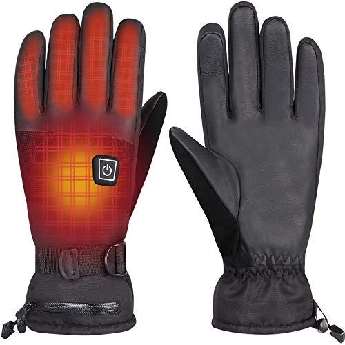 Beheizbare Handschuh 7.4V/4000mAh 3-Stufen Temperaturregelung Winterhandschuhe Herren Damen Winddicht Warm, Ideal für Arbeiten im Freien Skifahren, Motorrad, Jagen