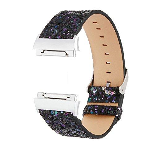 Compatible avec Fitbit Ionic Band, Bracelet en Cuir Glitter Bling Band Compatible avec Fitbit Ionic Smart Watch Fitness Tracker (Glitter Noir)