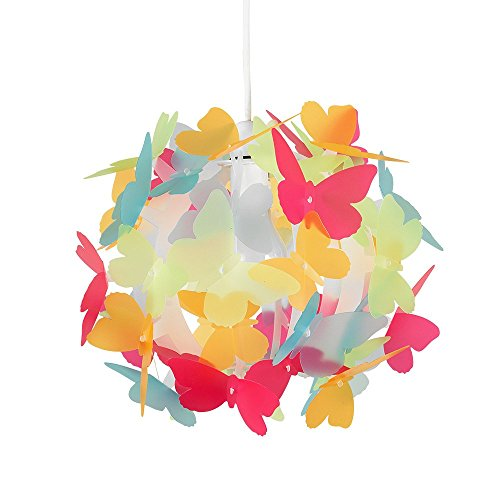MiniSun - Preciosa pantalla de lámpara infantil de techo con mariposas multicolor