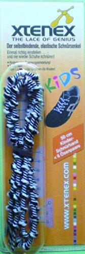 XTENEX Schnürsenkel Kids Cordones de Zapatos, Negro/Blanco, 50 cm