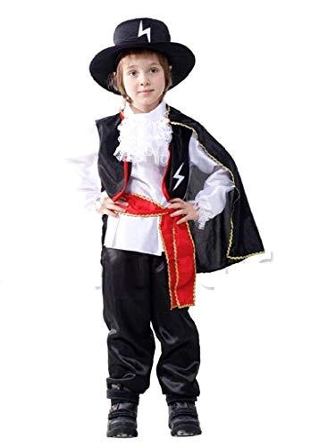 Costume zorro bambino carnevale vestito cavaliere della notte (taglia l) 7-9 anni travestimento ottimo come regalo per natale o compleanno