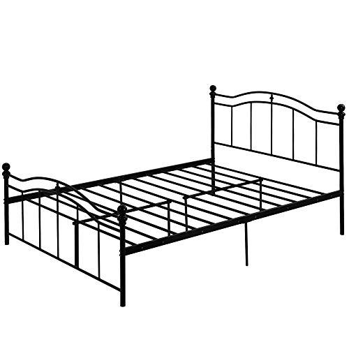 Marco de Cama de Metal Cama Individual Estructura de Cama Cama articulada para Dormitorio Habitación de Huéspedes Negro (140 x 200 cm)