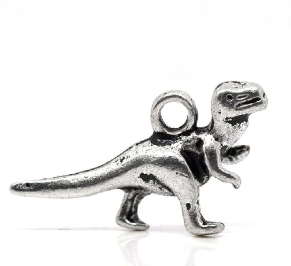 PEPPERLONELY Brand 50 Piece Antique Silver Dinosaur Charms Pendants 22x12mm