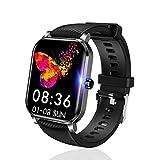SLuB Reloj inteligente, rastreador de ejercicios, función de monitorización de frecuencia cardíaca, presión arterial y sueño, IP68 a prueba de agua, compatible con Android e iOS (Negro)