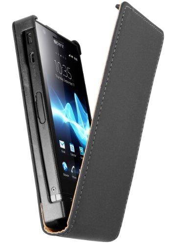 mumbi Tasche Flip Case kompatibel mit Sony Xperia P Hülle Handytasche Case Wallet, schwarz