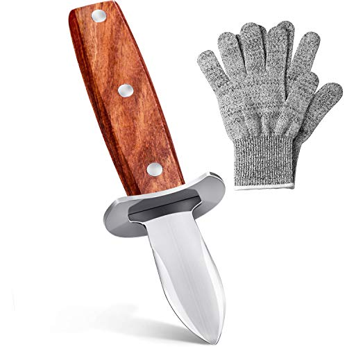 SOLEADER Oyster Shucking Knife Shucking Gloves Kit Heavy Duty Clam Shucker Shellfish Tool Full-Tang Blade Non-slip Rosewood Handle With Protective Guard