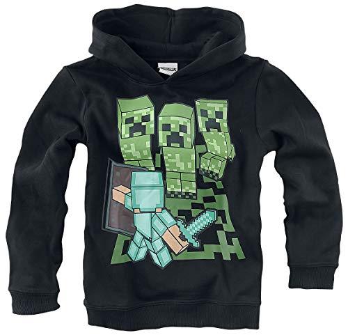 Minecraft Hoodie Sweatshirt mit Kapuze Schwarz Jungen und Mädchen Mining 116 128 140 152 cm (140)