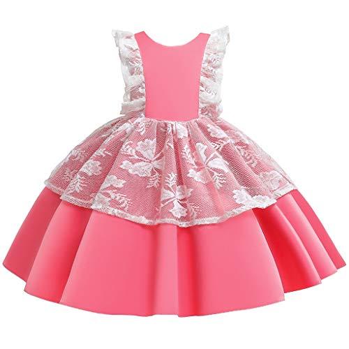 Xinantime Elegant Brautjungfer Kleider für Mädchen Blumenmädchen Hochzeitskleid Spitzenkleid Tüllkleid Prinzessin Festzug Erste Kommunionskleider Karneval Abendkleid Partykleid