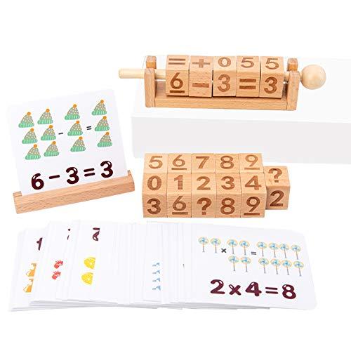 Fesjoy Bloques manipuladores,Bloques numéricos de Madera, movibles, giratorios, numéricos, a Juego, matemáticos básicos, Aprendizaje aritmético con 50 Tarjetas, jardín de Infantes, Preescolar