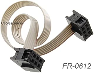 CablesOnline, 12-inch 6-Pin (2x3) 2.54mm-Pitch Female to Female 6-wire IDC Flat Ribbon Cable, FR-0612