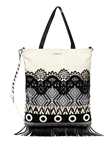 Desigual Bols_Black White Coro - Bolso de asa, color blanco