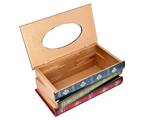 DSstyles Caja de pañuelos Libro Retro Tissue de Madera Titular de Papel de Almacenamiento de Tejidos para decoración del hogar - Azul