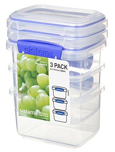 Sistema Vorratsdose Klip it 400ml 3 Stück, Plastik, transparent, 11.5 x 9 x 16 cm, 3-Einheiten