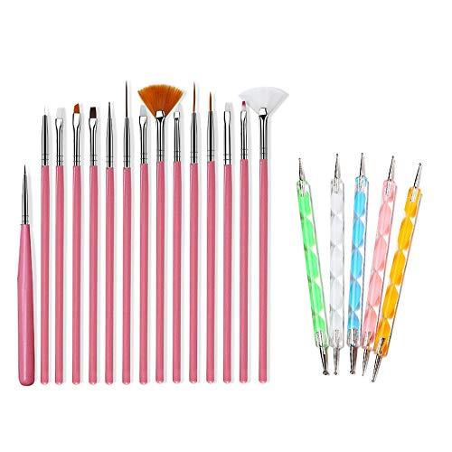 20 Pcs Nagel PinselSet, Nagelwerkzeug Hakenlinie Stift farbige Farbstoff für UV-Gel und Acryl-Nägel, Nägel lackieren die Pinsel, Nagelzubehör, Nageldesign, Nagel Fußpflege